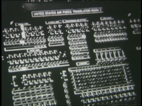 stockvideo's en b-roll-footage met b/w 1950s buttons on us air force translator computer - 1955