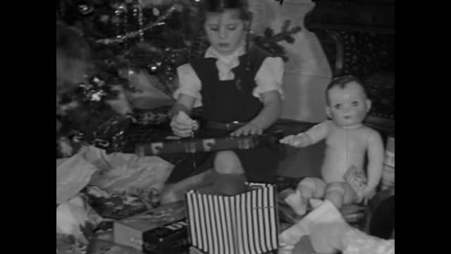 1950s christmas day breakfast and gift opening -  home movies - open drawer stock videos & royalty-free footage