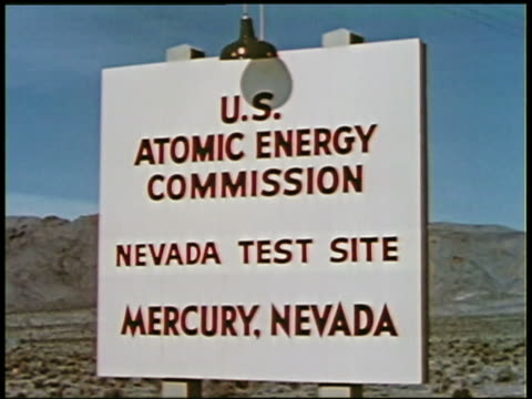 1950s close up US Atomic Energy Commission test site sign / Mercury Nevada