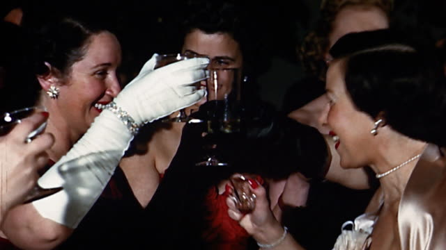1950s close up women drinking and kissing at bar mitzvah - 45 49 jahre stock-videos und b-roll-filmmaterial