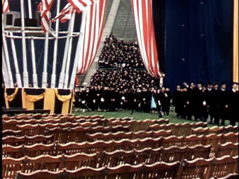 1950s WS, COMPOSITE, Berkeley University graduation ceremony, 1950's, California, USA