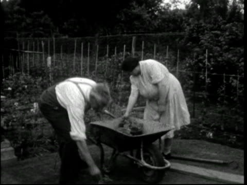 1950s couple in their garden or allotment - gardening stock videos & royalty-free footage