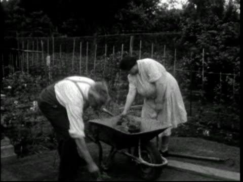 1950s couple in their garden or allotment - ガーデニング点の映像素材/bロール