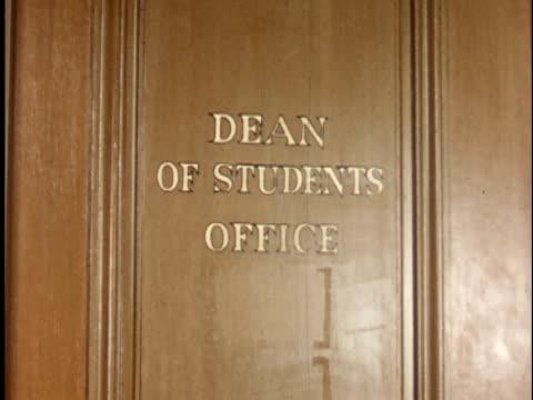 1950s CU, Dean of Students office wooden door at Berkeley University, 1950's, California, USA