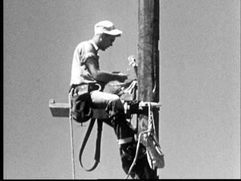 1950s ms electrical worker perched on utility pole/ colorado - strom stock-videos und b-roll-filmmaterial