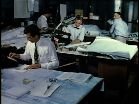 1950s ws engineers working in an office / levittown, pennsylvania, united states - blueprint stock videos & royalty-free footage