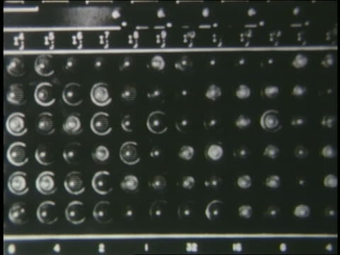 b/w 1950s extreme close up lights on buttons on us air force translator computer - 言語翻訳点の映像素材/bロール