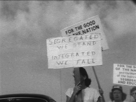 "1950s female pro-segregationist demonstrator carrying sign - ""segregated we stand..."" - social justice concept stock videos & royalty-free footage"