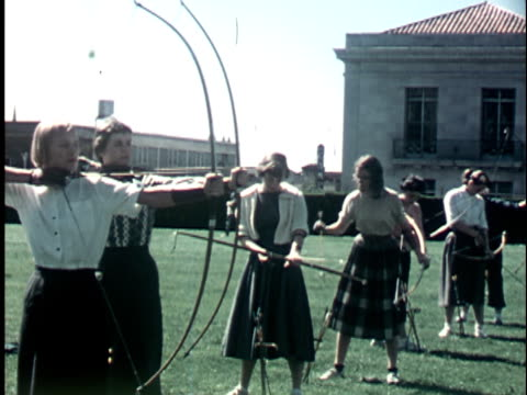 1950s MS, Female students practicing archery at Berkeley University campus, 1950's, California, USA