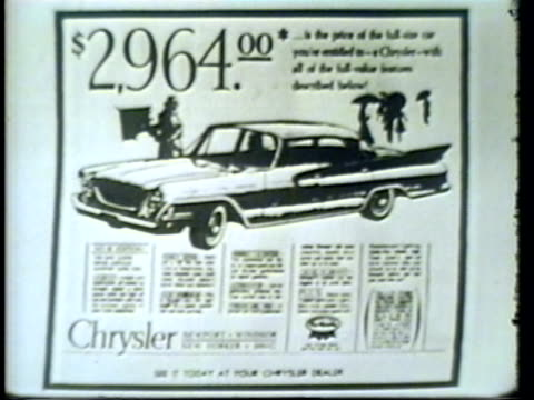 stockvideo's en b-roll-footage met 1950s film montage cu print advertisement for the chrysler newport/ ms television host bill wee willy webber talking about the car/ philadelphia, pennsylvania/ audio - chrysler