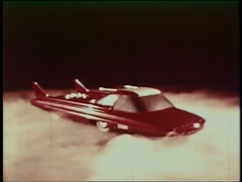 1950s futuristic sports car spinning on smoky platform