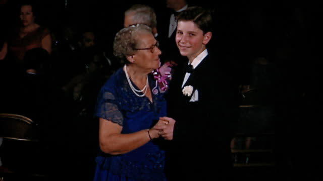 1950s medium shot boy dancing with grandmother - teenage boys stock videos & royalty-free footage