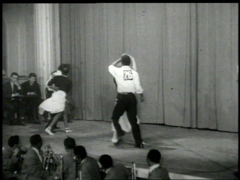 1950s montage couple dancing on stage  - applauding stock videos & royalty-free footage