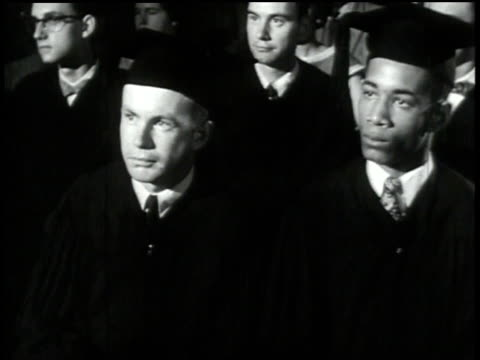 1950s MONTAGE group of people listening to a commencement speech at a graduation ceremony/ United States