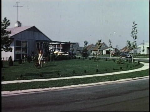 1950s montage residences, schools, churches / levittown, pennsylvania - 1950 stock videos and b-roll footage