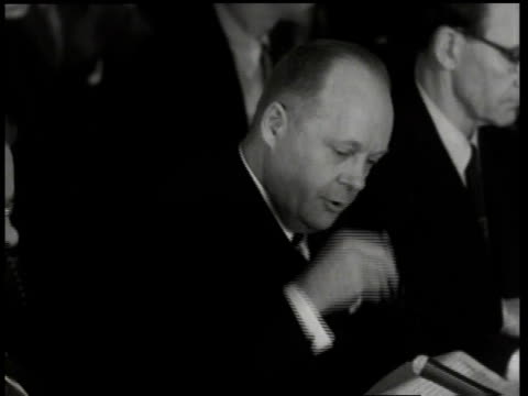 1950s montage robert stevens speaking at the army-mccarthy hearings / washington, d.c., united states - anno 1954 video stock e b–roll