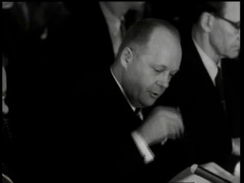1950s MONTAGE Robert Stevens speaking at the ArmyMcCarthy hearings / Washington DC United States