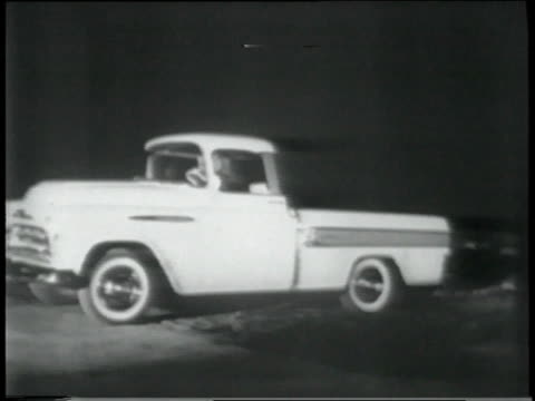 1950s montage task force 57 chevrolet trucks, trucks driving cross-country route at night and by day - chevrolet truck stock videos & royalty-free footage