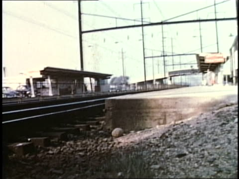 1950s montage train station in levittown, pennsylvania, united states - levittown pennsylvania stock videos and b-roll footage