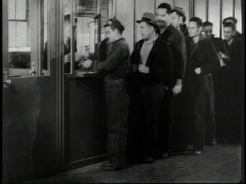 1950s MONTAGE workers being paid and purchasing bonds / United States