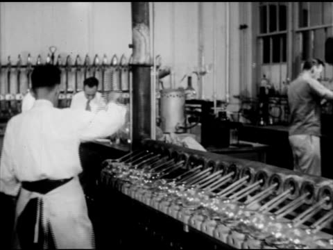 male scientists in soil testing laboratory at rutgers university testing samples of soil, chemicals in lab, examining flask, taking notes for... - vetreria da laboratorio video stock e b–roll