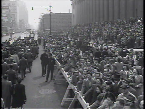 1950s ws spectators watching new york communist party parade / new york new york united states - communist party stock videos and b-roll footage