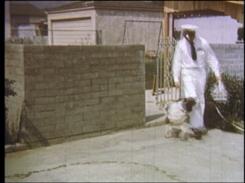 1950s springer spaniel jumping around milkman making delivery / educational - milkman stock videos & royalty-free footage