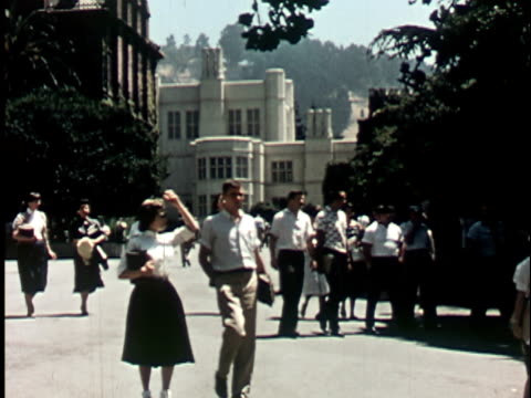 1950s WS, Students walking in Berkeley University campus, 1950's, California, USA