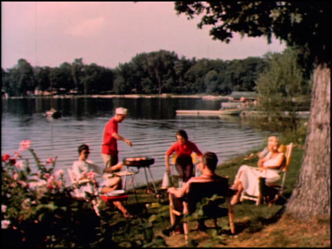 ws 1950s suburban cookout in the back yard on the edge of a lake / ws 3shot man with portable grill flanked by two women one woman hands him a plate... - blouse stock videos & royalty-free footage