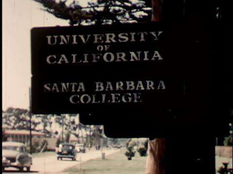 1950s CU, University of California sign, Santa Barbara, 1950's, California, USA