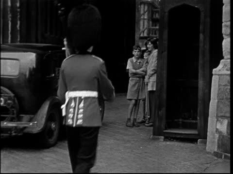 1950s welsh guardsman at windsor castle - windsor castle stock videos & royalty-free footage