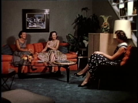 1950s ws women sitting in a living room laughing / levittown, pennsylvania, united states - levittown pennsylvania stock videos and b-roll footage