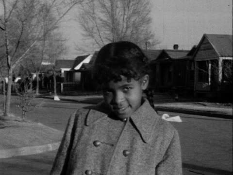 1950s/1950s montage b/w children smiling and posing for camera on residential neighbourhood street/ greenwood, tulsa, oklahoma, usa - 1950 stock videos and b-roll footage