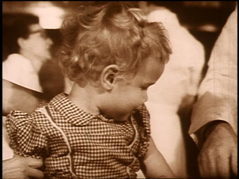 b/w sepia 1950s/60s close up small blond girl turning toward camera - sepia stock videos and b-roll footage