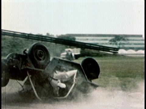 1960s ms a jeep crash demonstration showing the damage done to occupants in a rollover - testdocka bildbanksvideor och videomaterial från bakom kulisserna