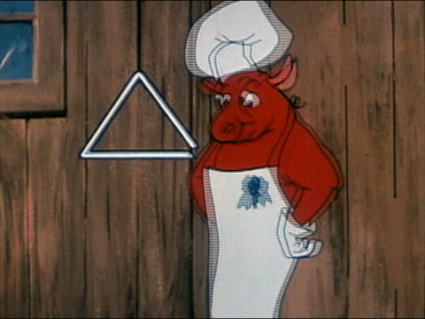 1960s animation cow wearing chef's hat and apron ringing dinner bell (triangle) / audio - chef's hat stock videos & royalty-free footage
