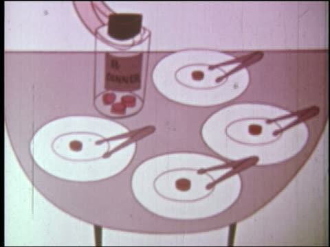 "vídeos y material grabado en eventos de stock de 1960s animation hands take dishes with pills on them / pill bottle marked ""dinner"" on tray - comida sana"