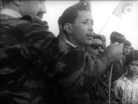 B/W 1960s Army of Liberation leader speaking at rally / Algeria / educational