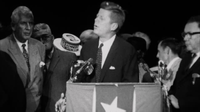 1960s B/W MS John F Kennedy addressing crowd on campaign stop / Springfield Illinois USA