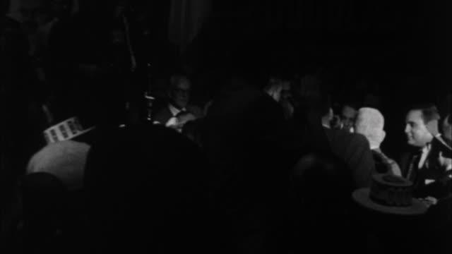 1960s b/w montage john f. kennedy addressing crowd on campaign stop / springfield, illinois, usa - john f kennedy video stock e b–roll