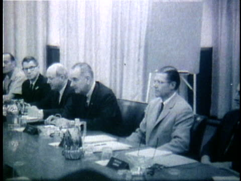 1960s b/w montage president lyndon johnson meeting with advisers o discuss the war in vietnam / unknown location - formal businesswear stock videos & royalty-free footage