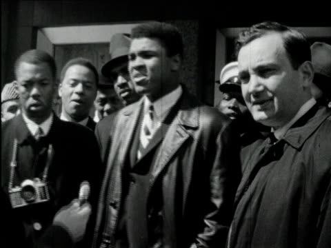 stockvideo's en b-roll-footage met 1960s b/w ms muhammad ali interviewed upset after being called cassius clay / usa / audio - 1964
