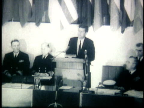 1960s B/W WS President John F Kennedy speaking in relation to the conflict in Vietnam at NATO conference / Unknown Location
