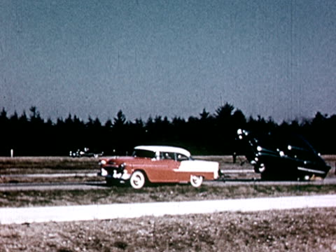 ws pan 1960s car crash test on rural highway - crash test stock videos & royalty-free footage