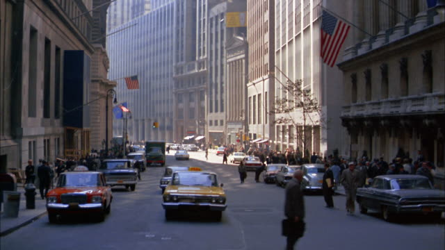 stockvideo's en b-roll-footage met 1960s car point of view traffic and pedestrians in financial district, lower manhattan - 1965