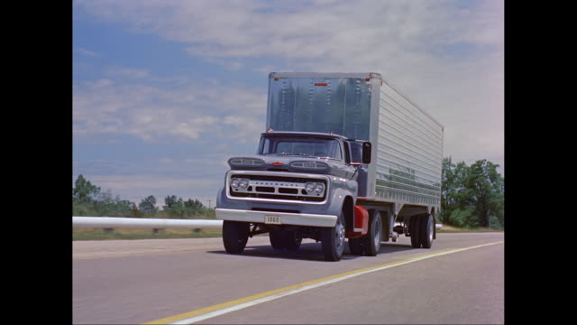 ws ts 1960s chevrolet truck moving on road / united states - chevrolet truck stock videos & royalty-free footage