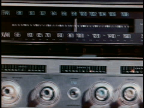1960s close up pan radio fm/am dial / hand turning dial / audio - radio studio stock videos & royalty-free footage