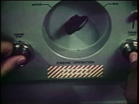 1960s close up thumb pushing button on control panel to shoot missiles / cold war / documentary - cold war stock videos and b-roll footage