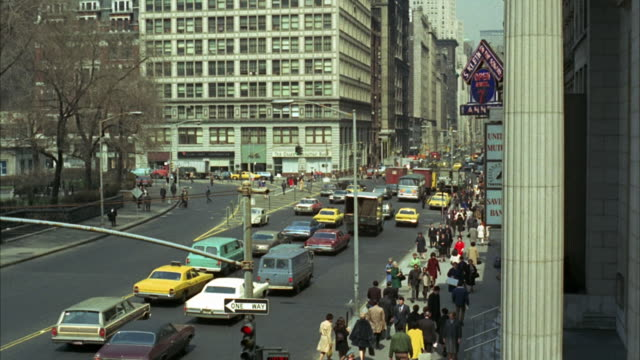 1960s ws ha downtown traffic / new york city, usa - 1960 1969 stock-videos und b-roll-filmmaterial