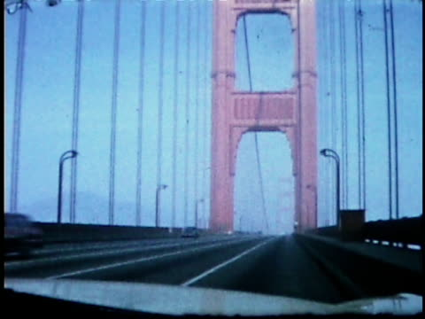 1960s ws pov driving over golden gate bridge / san francisco, california, usa - golden gate bridge stock videos & royalty-free footage